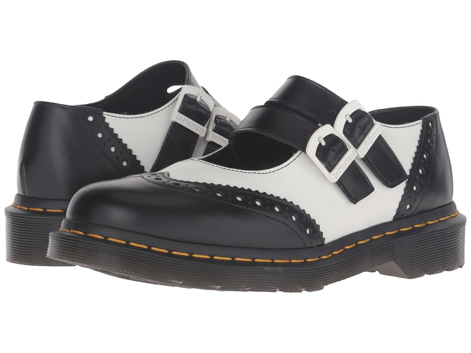 Dr. Martens - Adena II Double Strap Mary Jane Black Smooth Womens Maryjane Shoes $125.00 AT vintagedancer.com