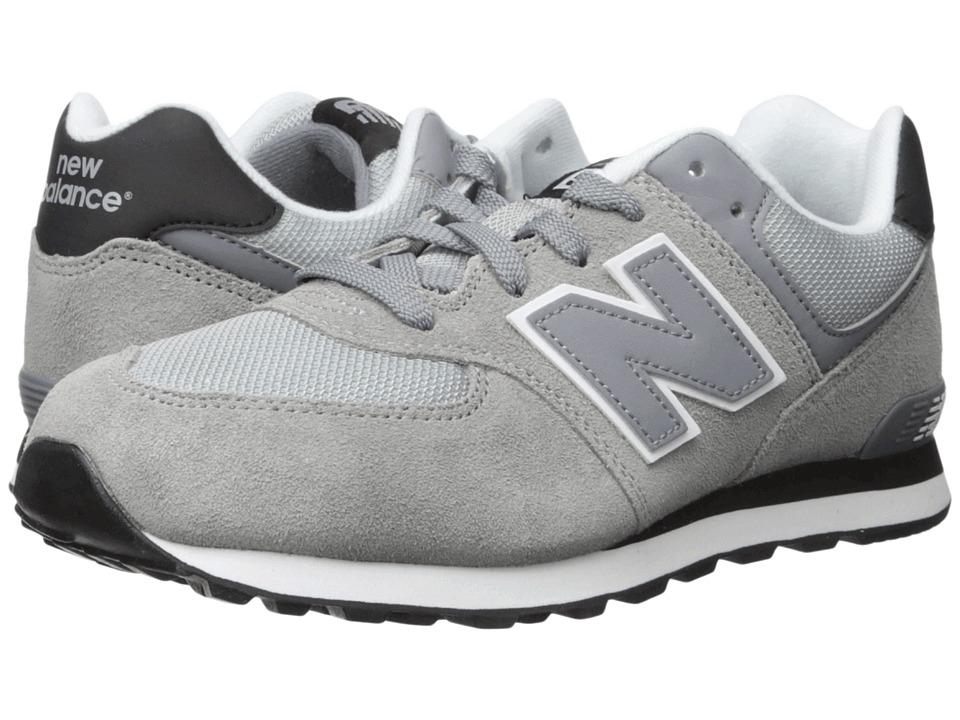 New Balance Kids - 574 (Big Kid) (Grey/Black) Boys Shoes
