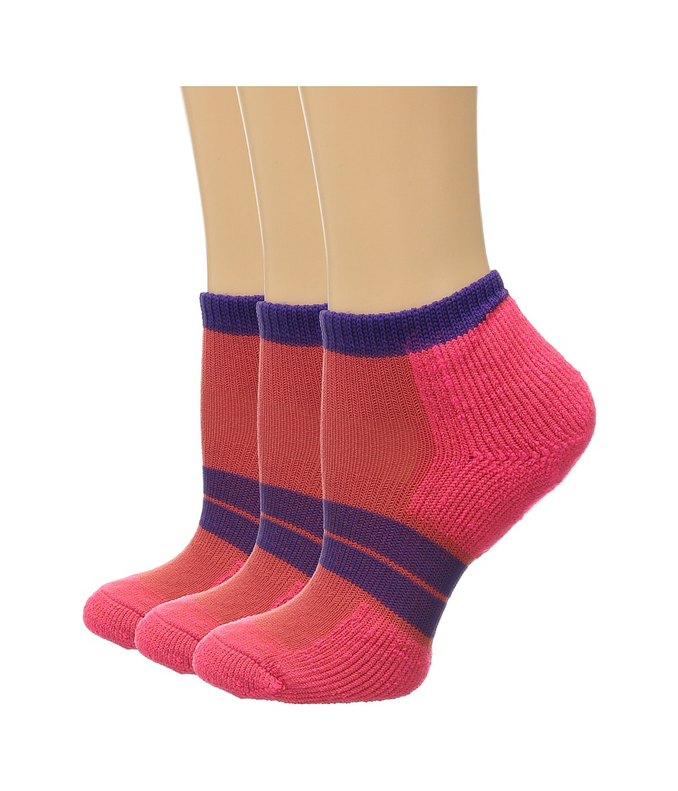 Thorlos 84 N Runner Micro Mini 3 Pair Pack Diva Pink/Electric Purple Womens Low Cut Socks Shoes