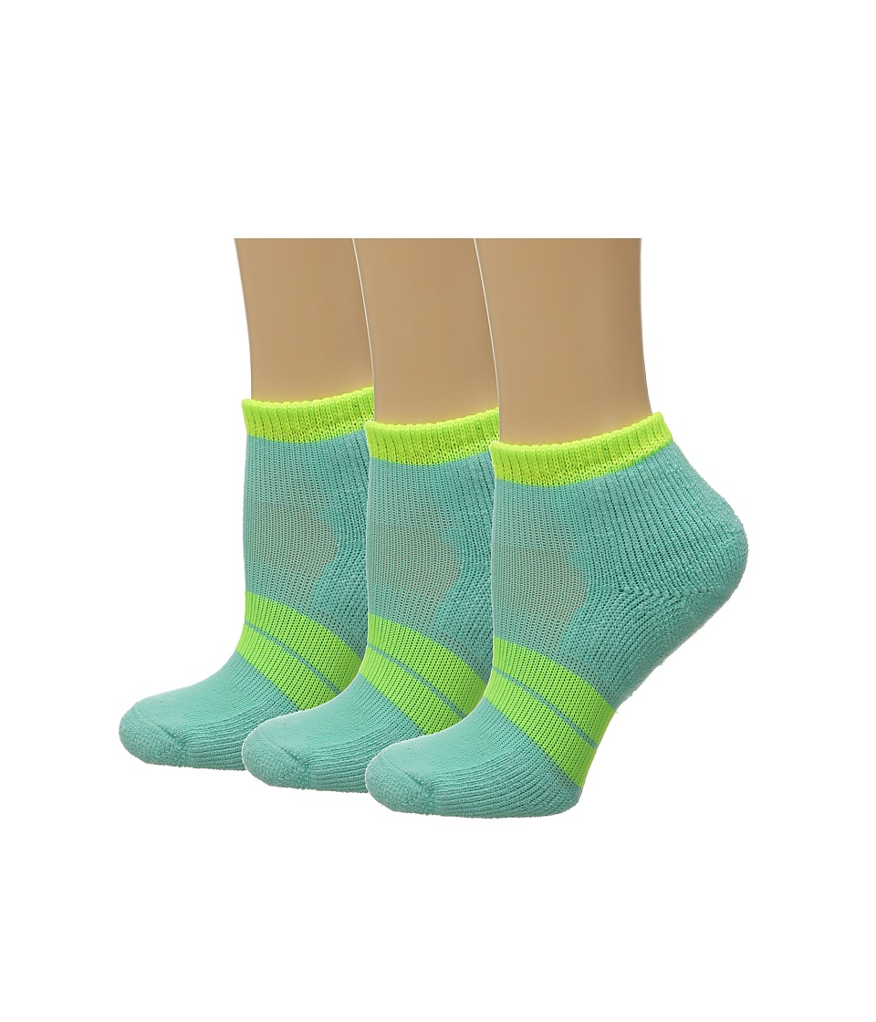 Thorlos 84 N Runner Micro Mini 3 Pair Pack Spearmint/Electric Yellow Womens Low Cut Socks Shoes