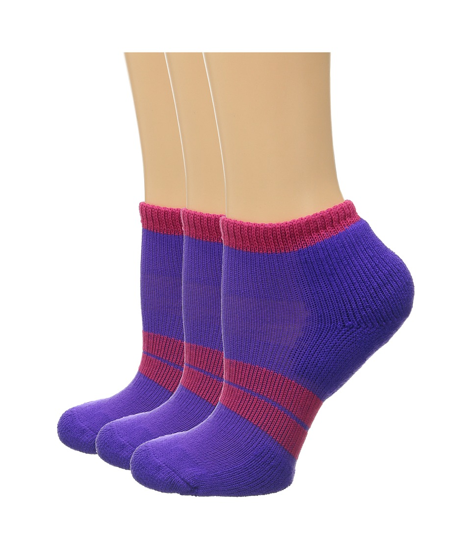 Thorlos 84 N Runner Micro Mini 3 Pair Pack Violet/Hot Pink Womens Low Cut Socks Shoes