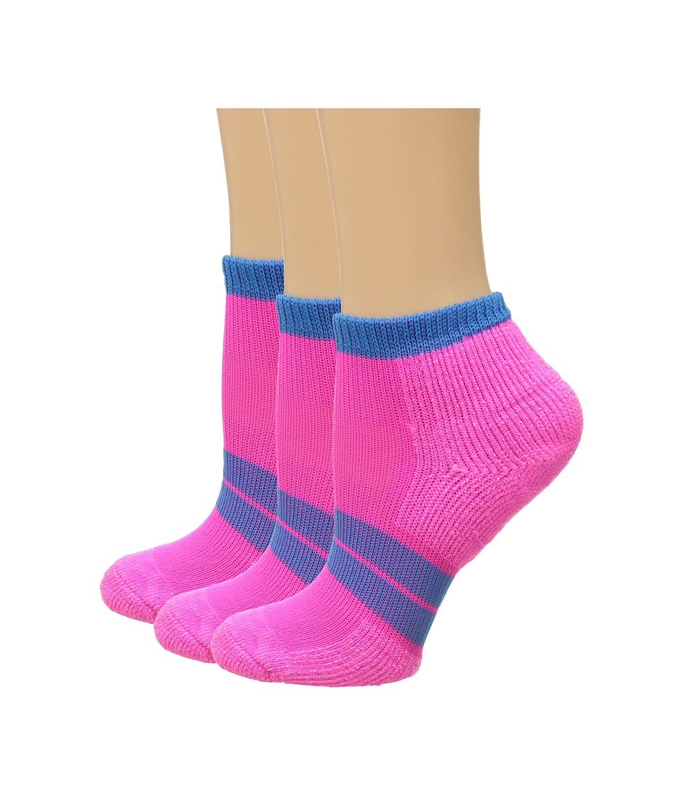 Thorlos 84 N Runner Micro Mini 3 Pair Pack Electric Pink/Blue Aster Womens Low Cut Socks Shoes