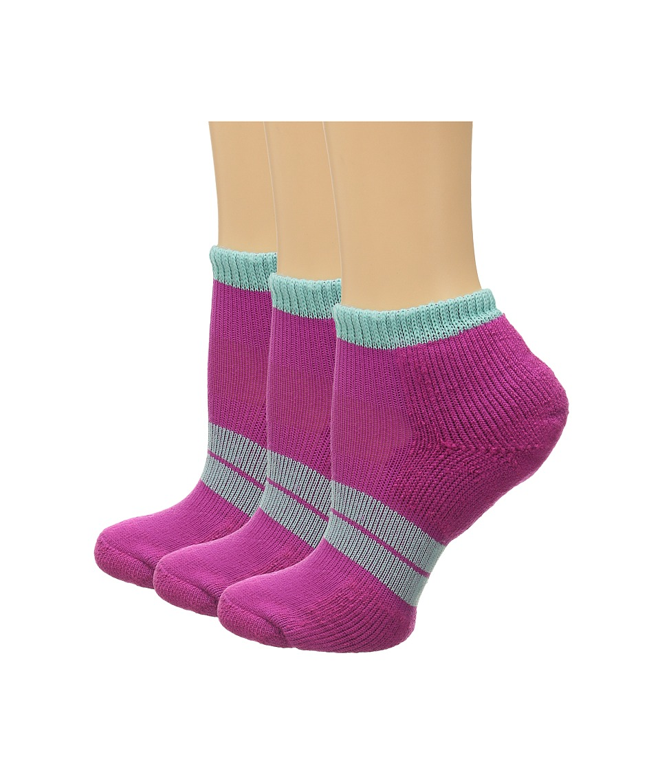 Thorlos 84 N Runner Micro Mini 3 Pair Pack Fuchsia/Spearmint Womens Low Cut Socks Shoes