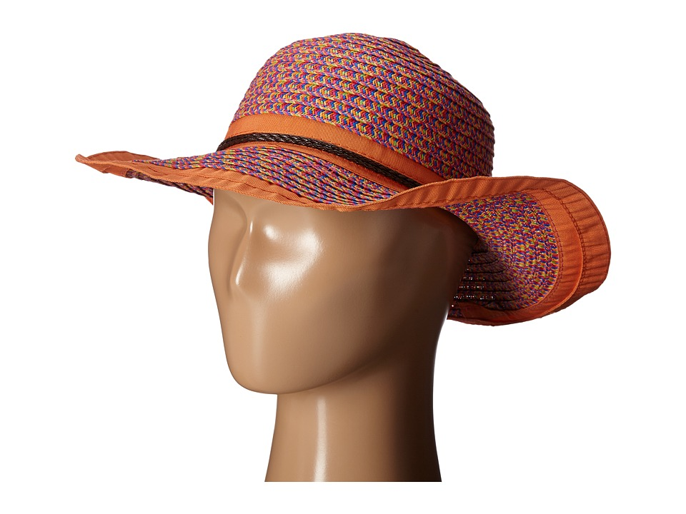 San Diego Hat Company Kids - Paperbraid Sunbrim Hat with Ribbon Edge (Little Kids/Big Kids) (Orange) Caps