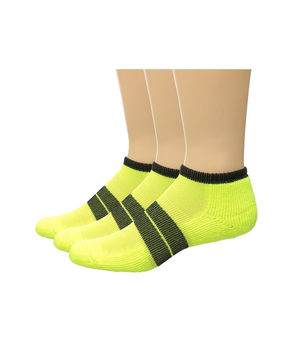 Thorlos 84 N Runner Micro Mini 3 Pack Electric Yellow/Black Mens Low Cut Socks Shoes