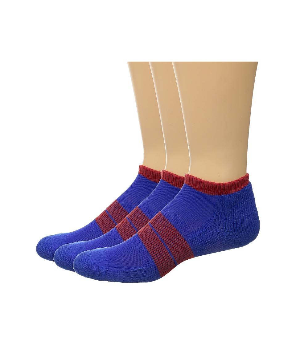 Thorlos 84 N Runner Micro Mini 3 Pack Royal/Red Mens Low Cut Socks Shoes