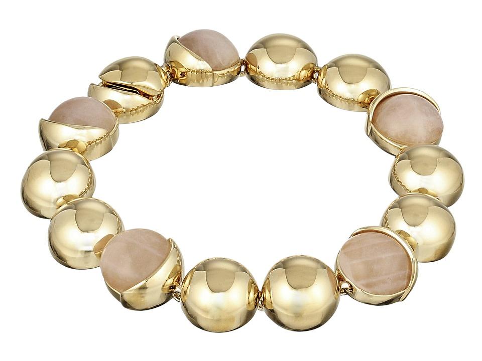 Cole Haan Metal Stone Line Bracelet Gold/Rose Quartz/Peach Bracelet