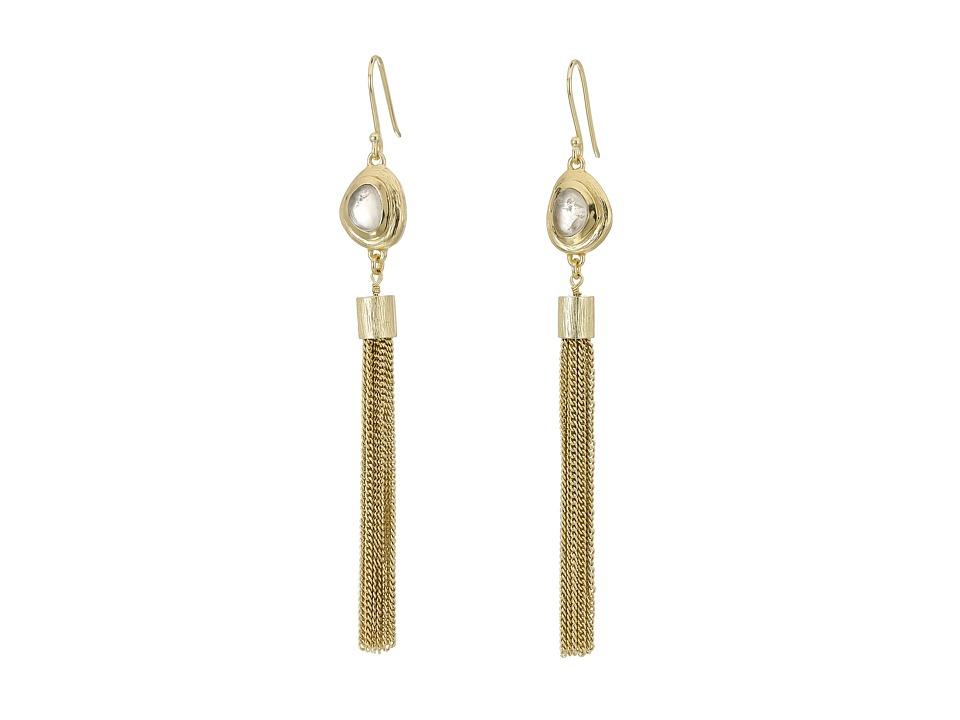 Cole Haan Gold Tassel Pink Stone Drop Earrings Brushed Gold/Rose Quartz Earring