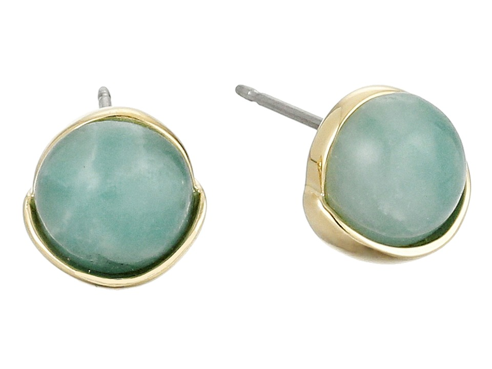 Cole Haan Stone Stud Earrings Gold/Amazonite/Green Earring