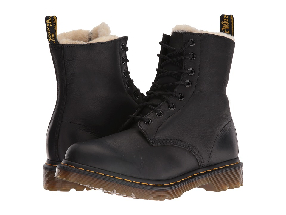 Dr. Martens Serena 8-Eye Boots (Black Burnished Wyoming)