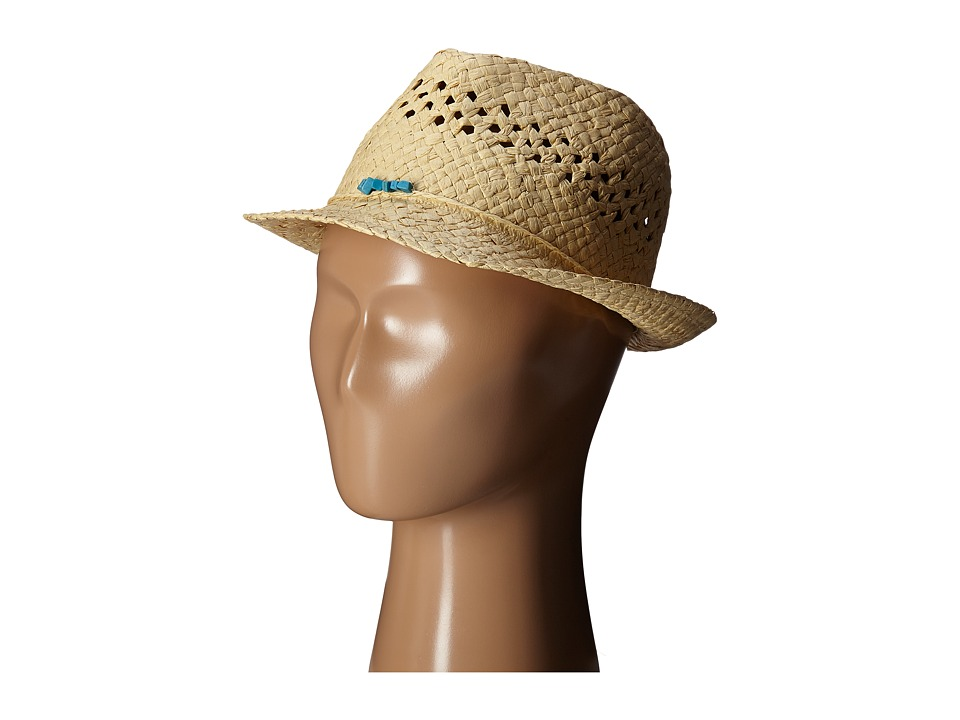 San Diego Hat Company Kids Paper Fedora Hat with Open Weave and Turquoise Trim Little Kids/Big Kids Natural Fedora Hats