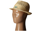 San Diego Hat Company Kids Paper Fedora Hat with Open Weave and Turquoise Trim (Little Kids/Big Kids)