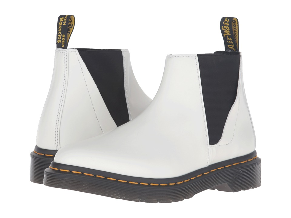 Dr. Martens - Bianca Low Shaft Zip Chelsea (White Polished Smooth) Women