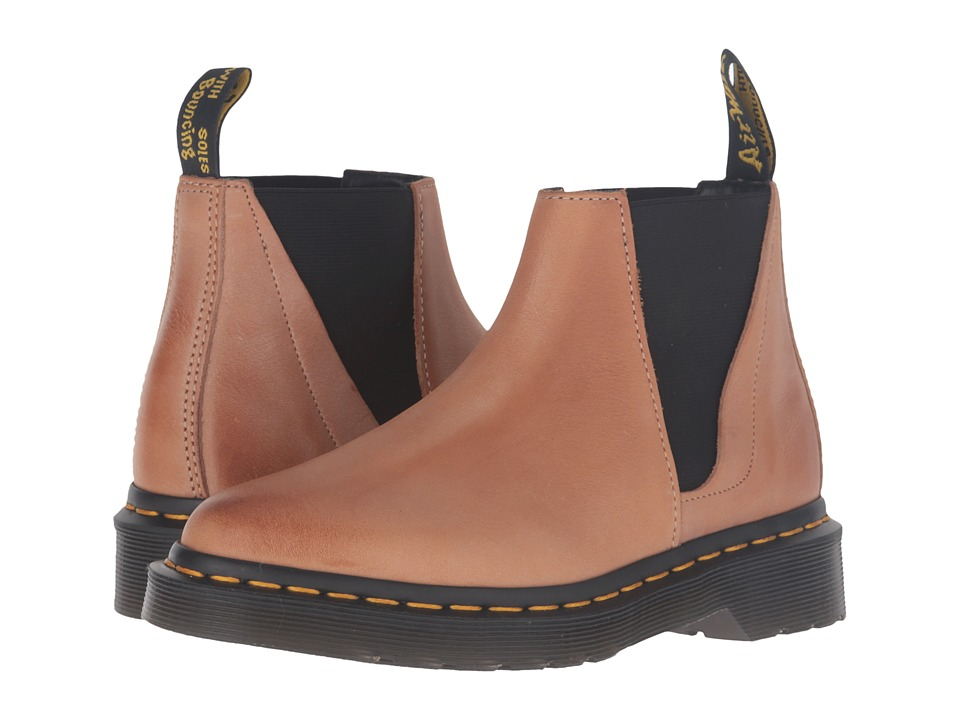 Dr. Martens - Bianca Low Shaft Zip Chelsea (Brown Antique Milled Brunido) Women