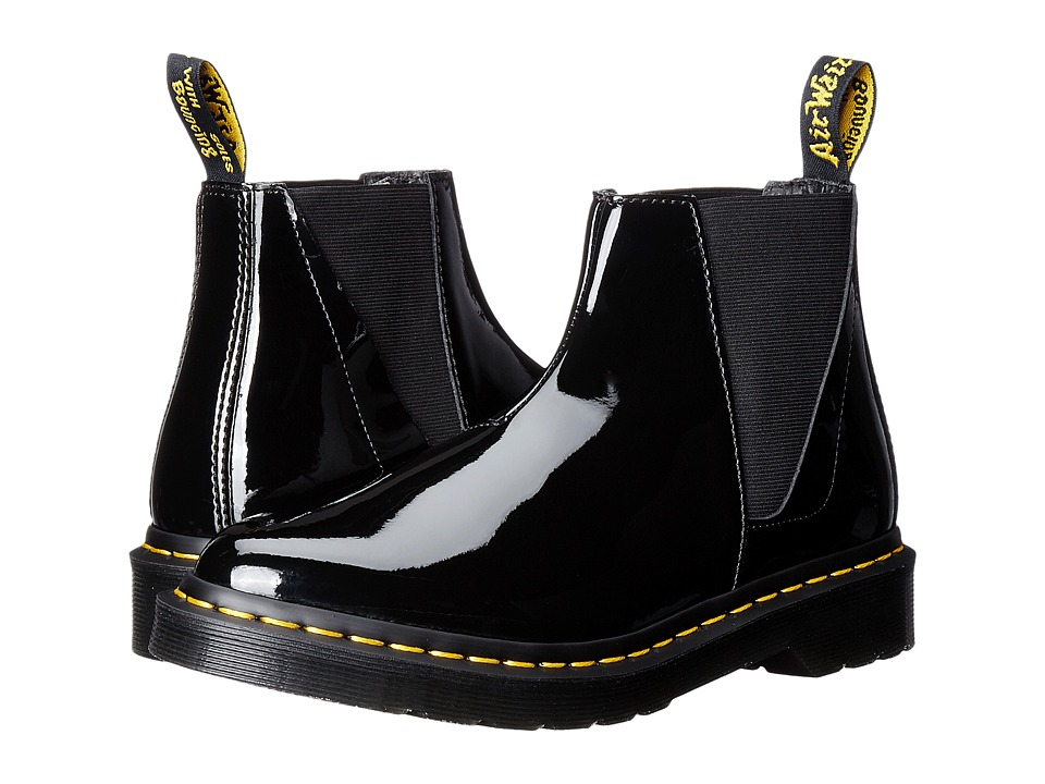 Dr. Martens Bianca Low Shaft Zip Chelsea (Black Patent Lamper) Women