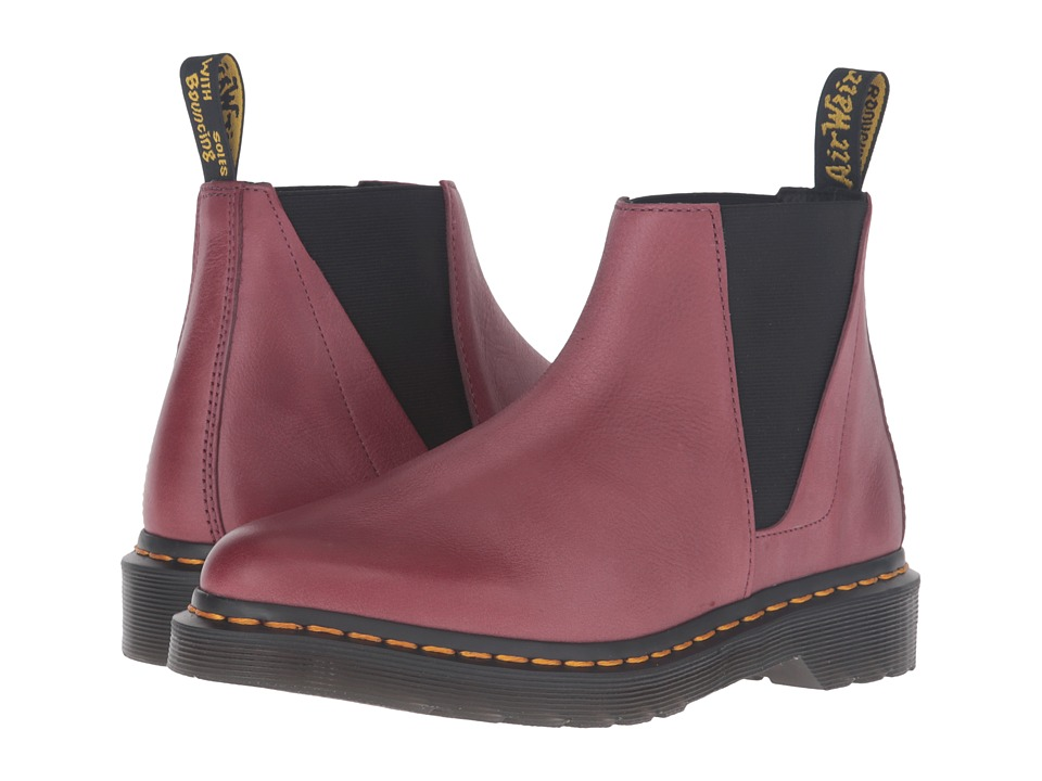 Dr. Martens - Bianca Low Shaft Zip Chelsea (Wine Antique Milled Brunido) Women