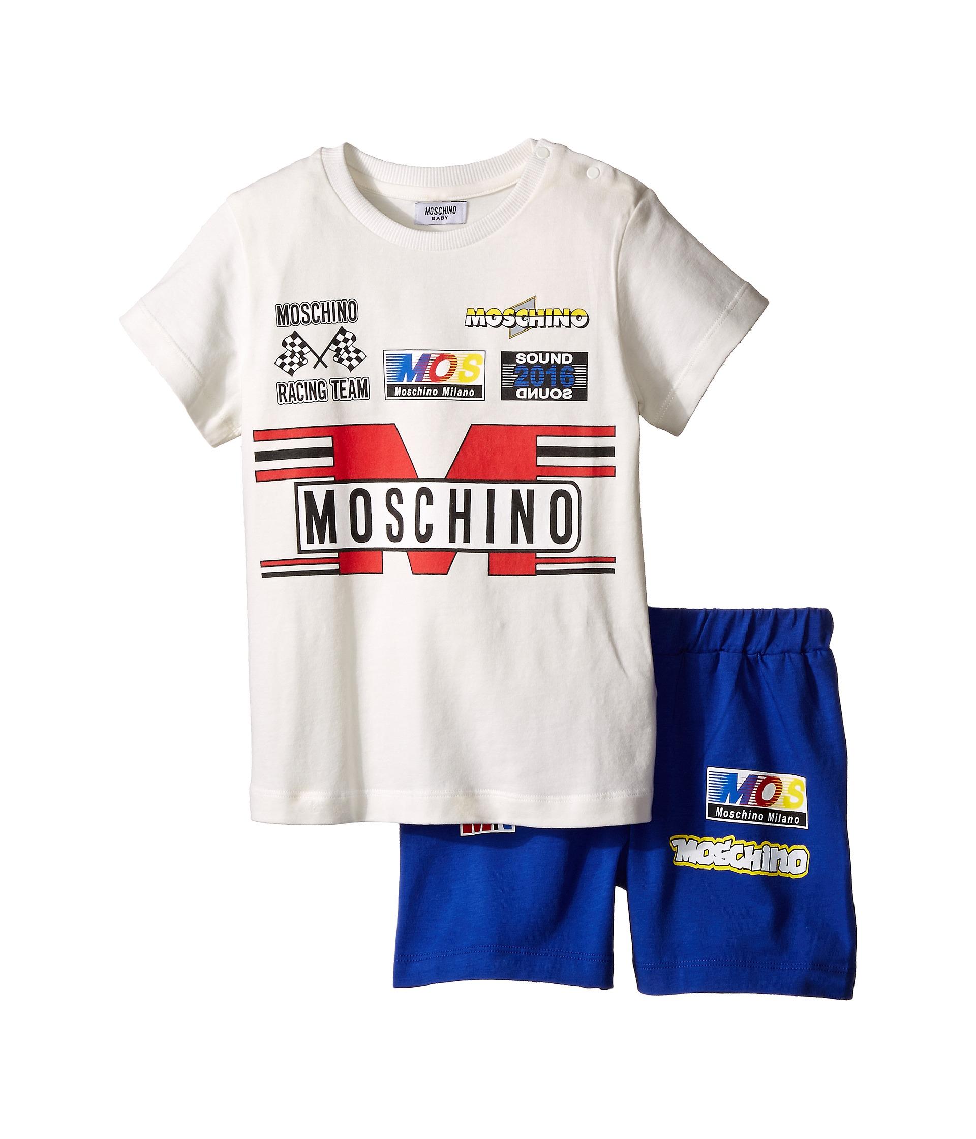 Moschino Kids Short Sleeve Logo T Shirt & Bermuda Set