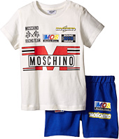 Moschino Kids - Short Sleeve Logo T-Shirt & Bermuda Set (Infant/Toddler)