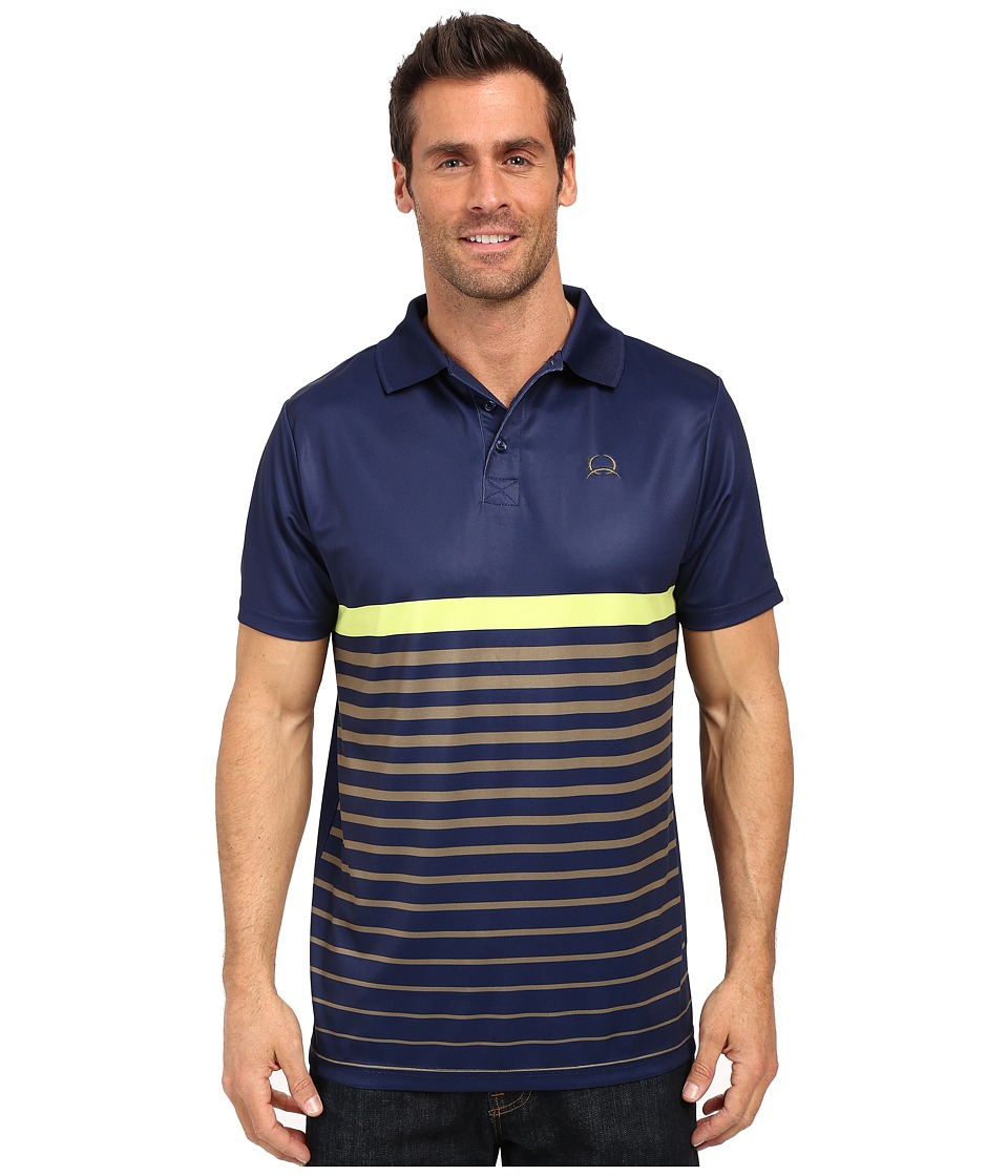 Cinch Athletic Tech Polo Striped Navy Mens Short Sleeve Pullover