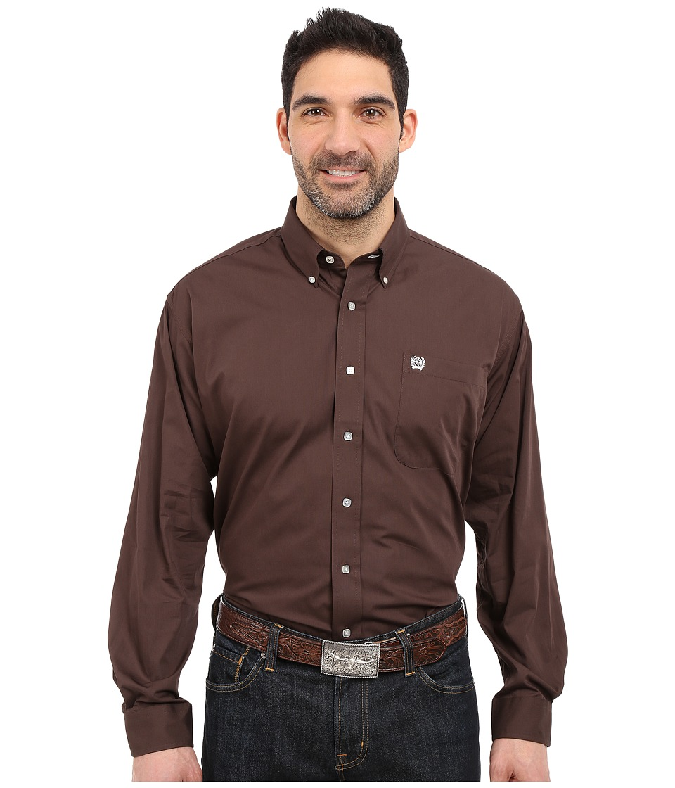 CINCH Long Sleeve Button Down Solid (Brown) Men's Long Sl...