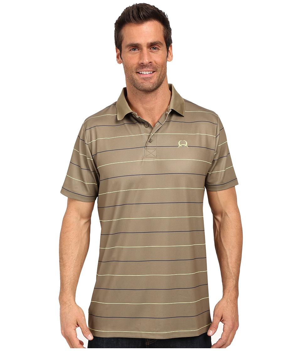 Cinch Athletic Tech Polo Striped Olive Mens Short Sleeve Button Up