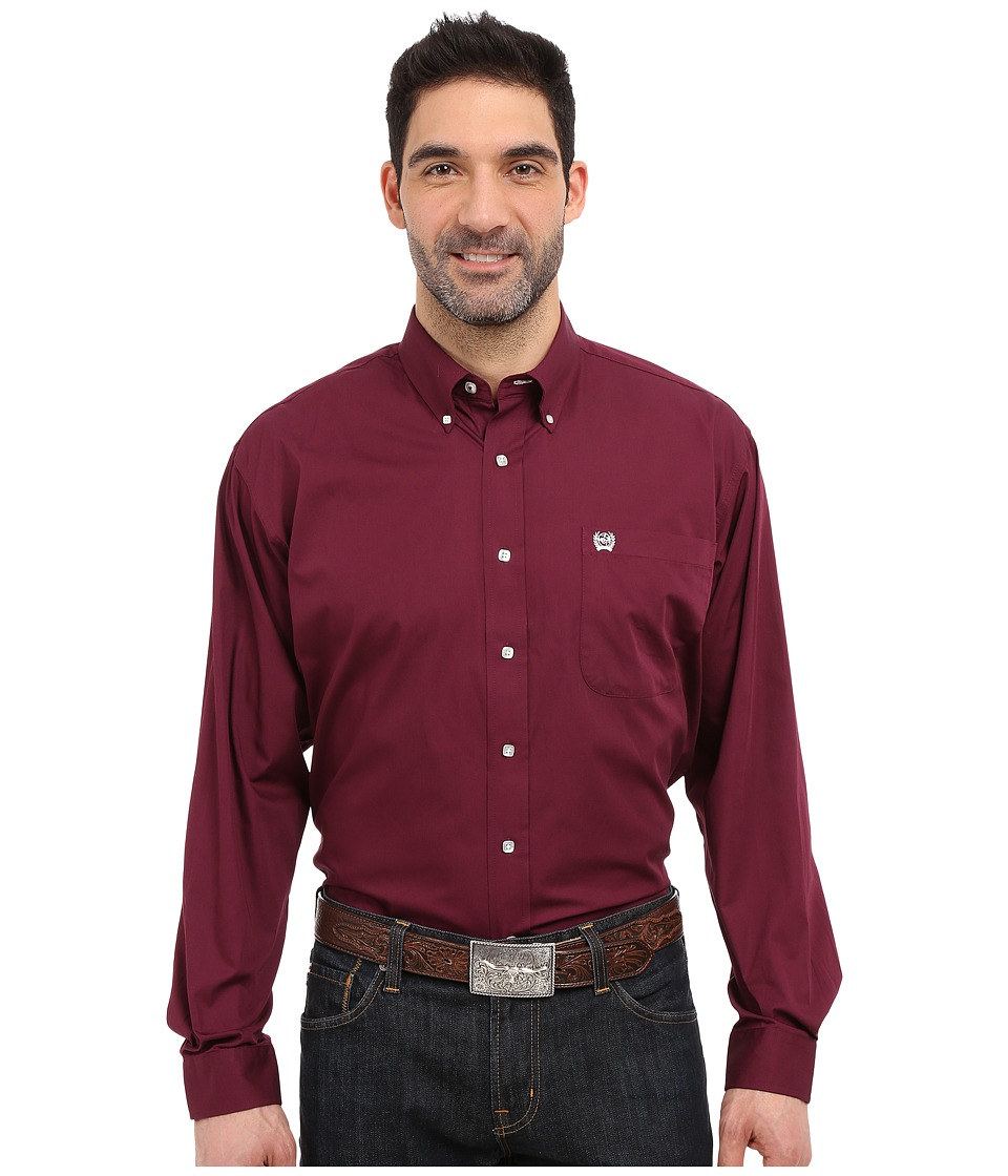 CINCH Long Sleeve Button Down Solid (Burgundy) Men's Long...