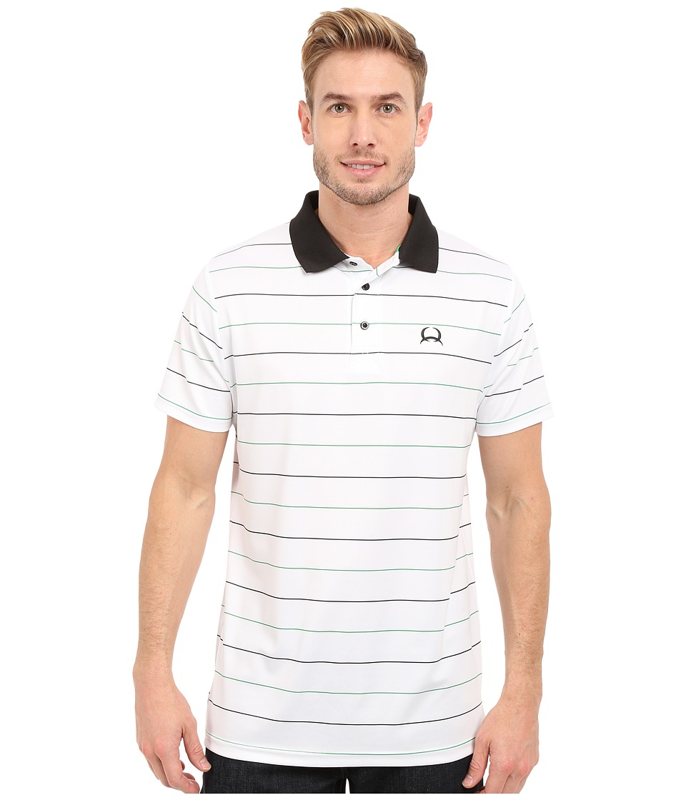 Cinch Athletic Tech Polo Striped White Mens Short Sleeve Knit