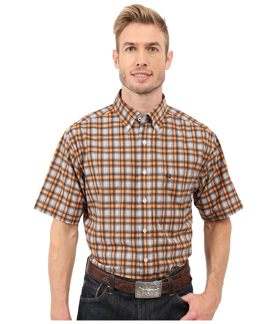 Cinch Athletic Plaid Short Sleeve Gray Mens Short Sleeve Button Up