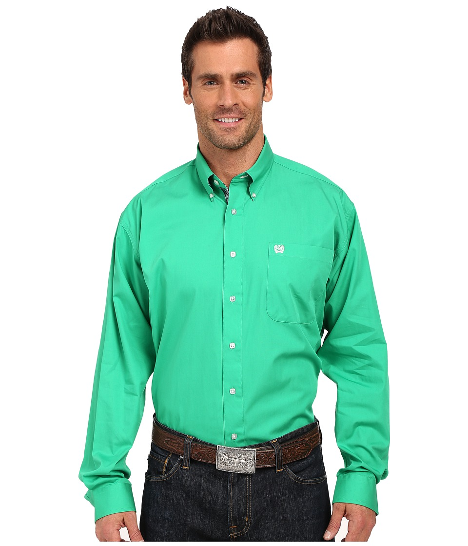 Cinch Long Sleeve Solid Plain Weave Green Mens Long Sleeve Button Up