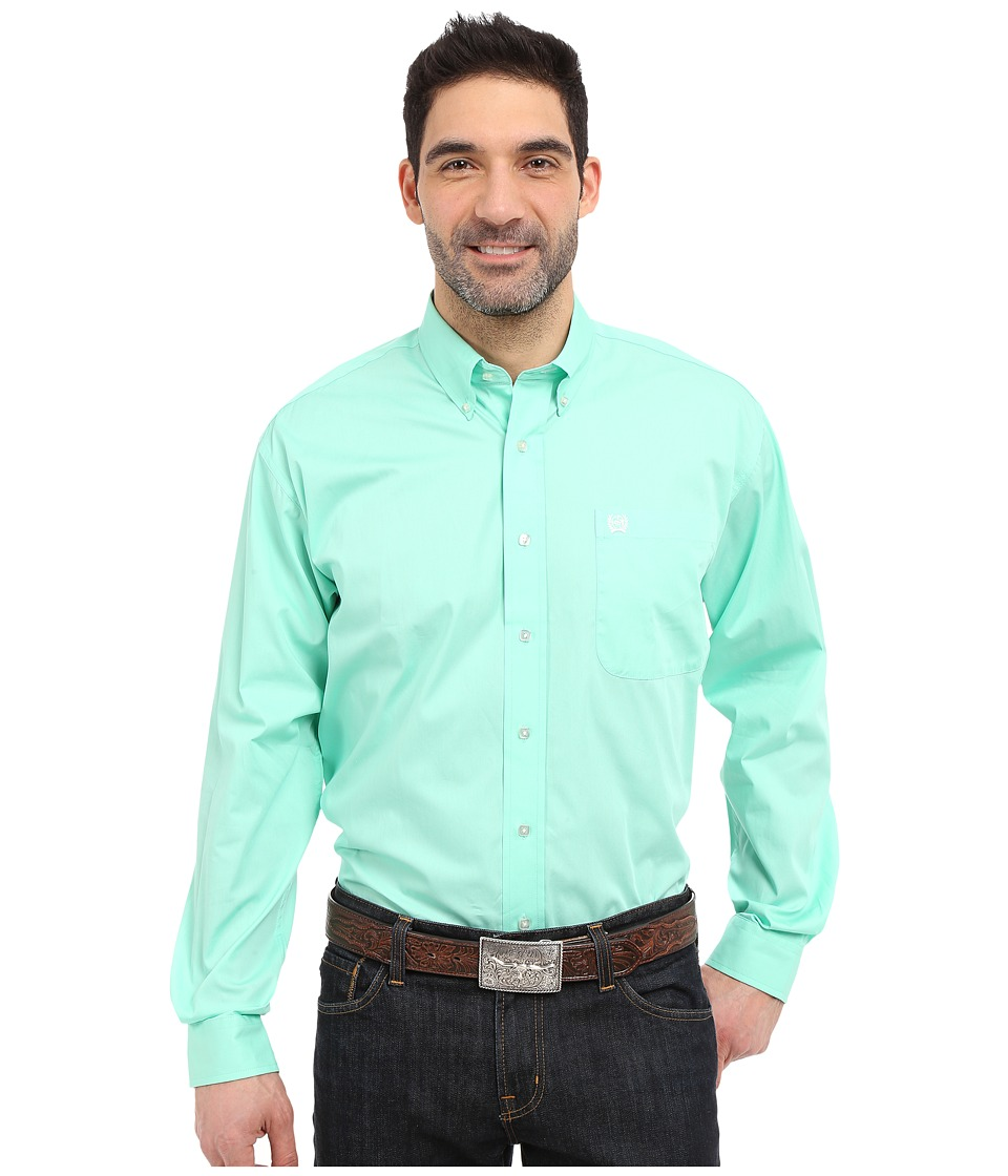CINCH Long Sleeve Button Down Solid (Green) Men's Long Sleeve Button Up