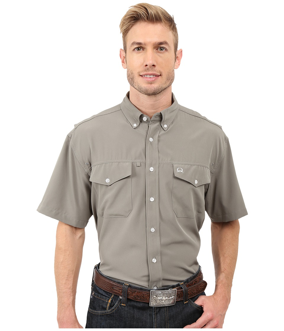 Cinch Athletic Solid Double Pocket Shirt Gray Mens Short Sleeve Button Up