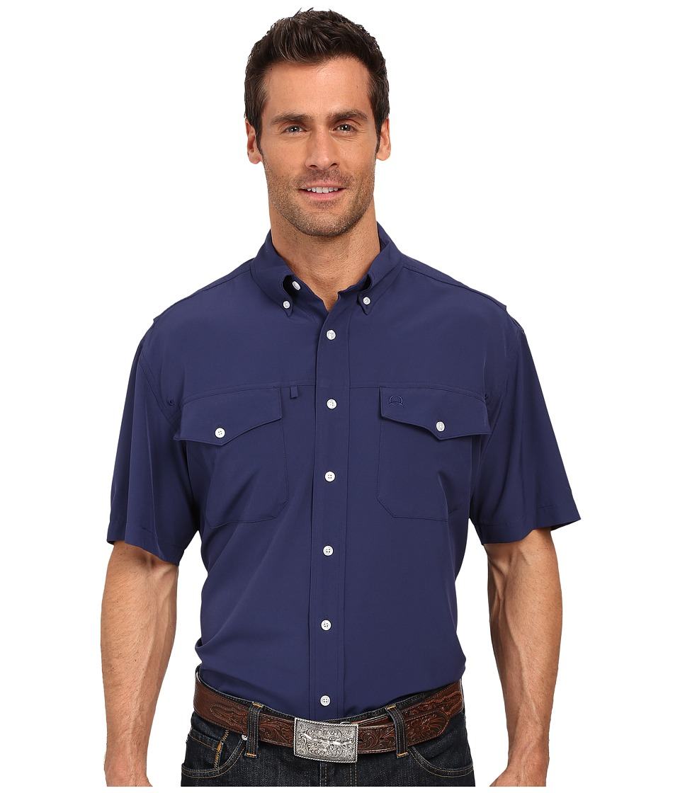 Cinch Athletic Solid Double Pocket Shirt Navy Mens Long Sleeve Button Up