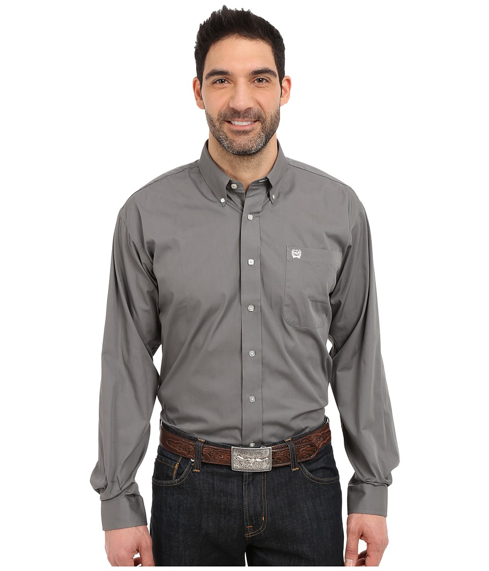 CINCH Long Sleeve Button Down Solid (Gray) Men's Clothing