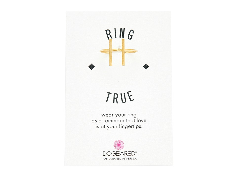 Dogeared Double Vertical Bar Open Ring Gold Dipped Ring