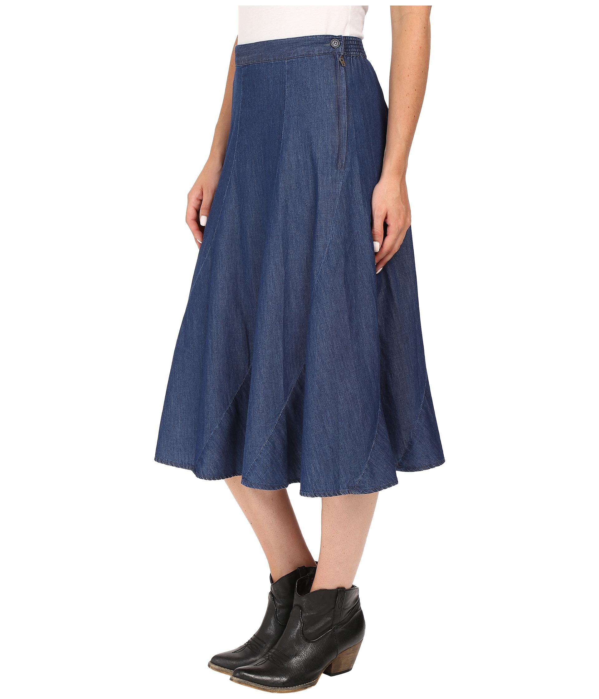 roper 0425 5 oz denim gored midi length skirt zappos