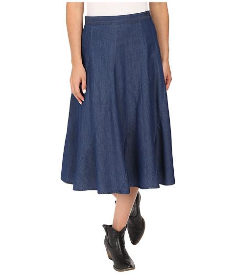 roper 0425 5 oz denim gored midi length skirt blue 6pm