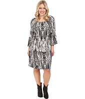 Roper - Plus Size 0431 Feather Ikat Printed Jersey Dress