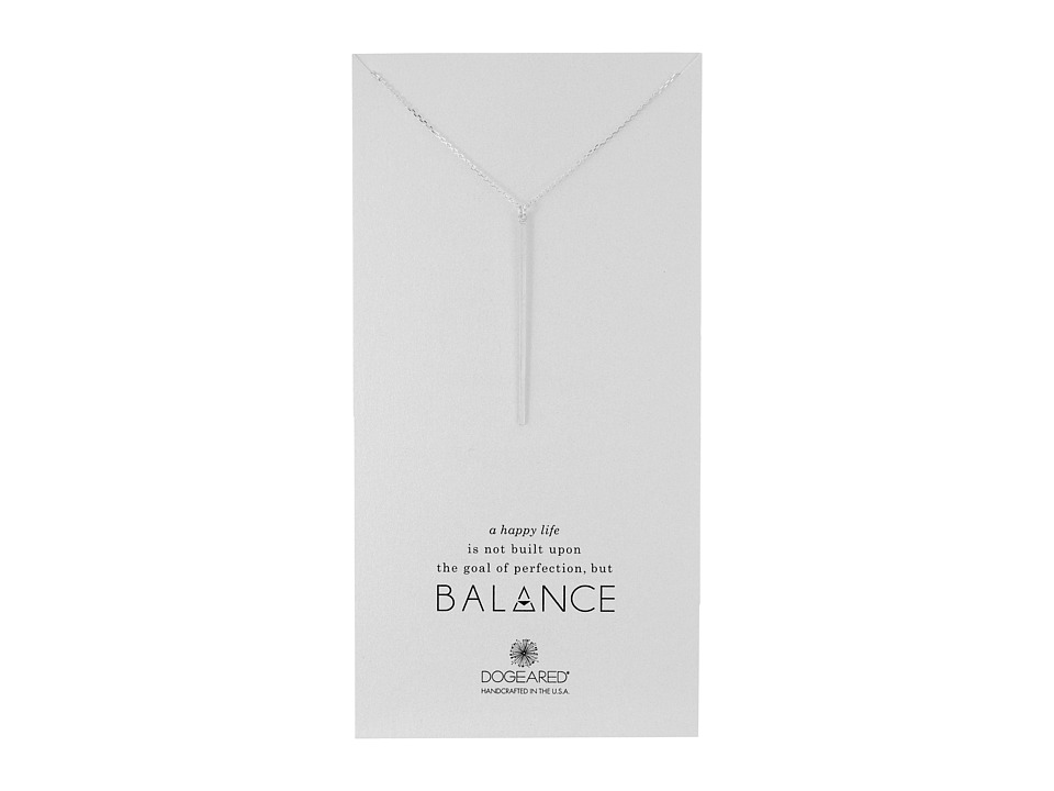 Dogeared Balance Long Bar Charm Necklace Sterling Silver Necklace