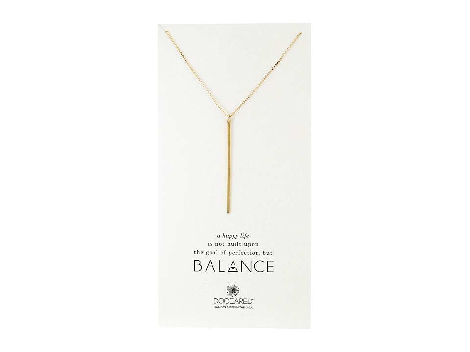 Dogeared Balance Long Bar Charm Necklace Gold Dipped Necklace