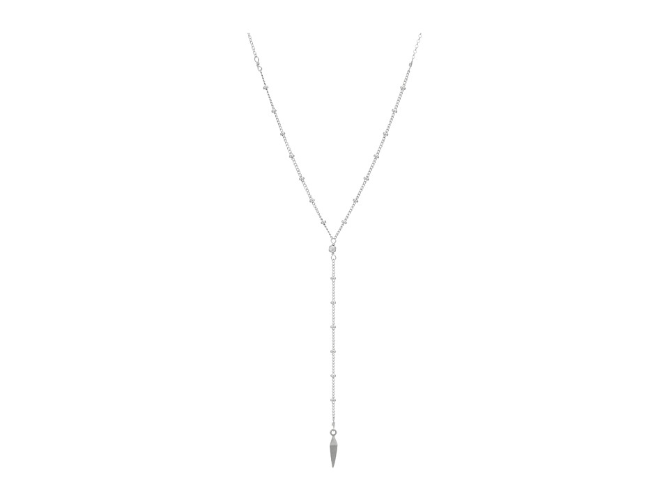 Dogeared Dare To Beaded Y Necklace Faceted Spear Sterling Silver Necklace