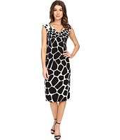 Maggy London - Graduated Giraffe V-Neck Scuba Sheath