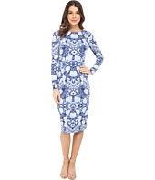 Maggy London - Etched Flower Jersey Midi Sheath