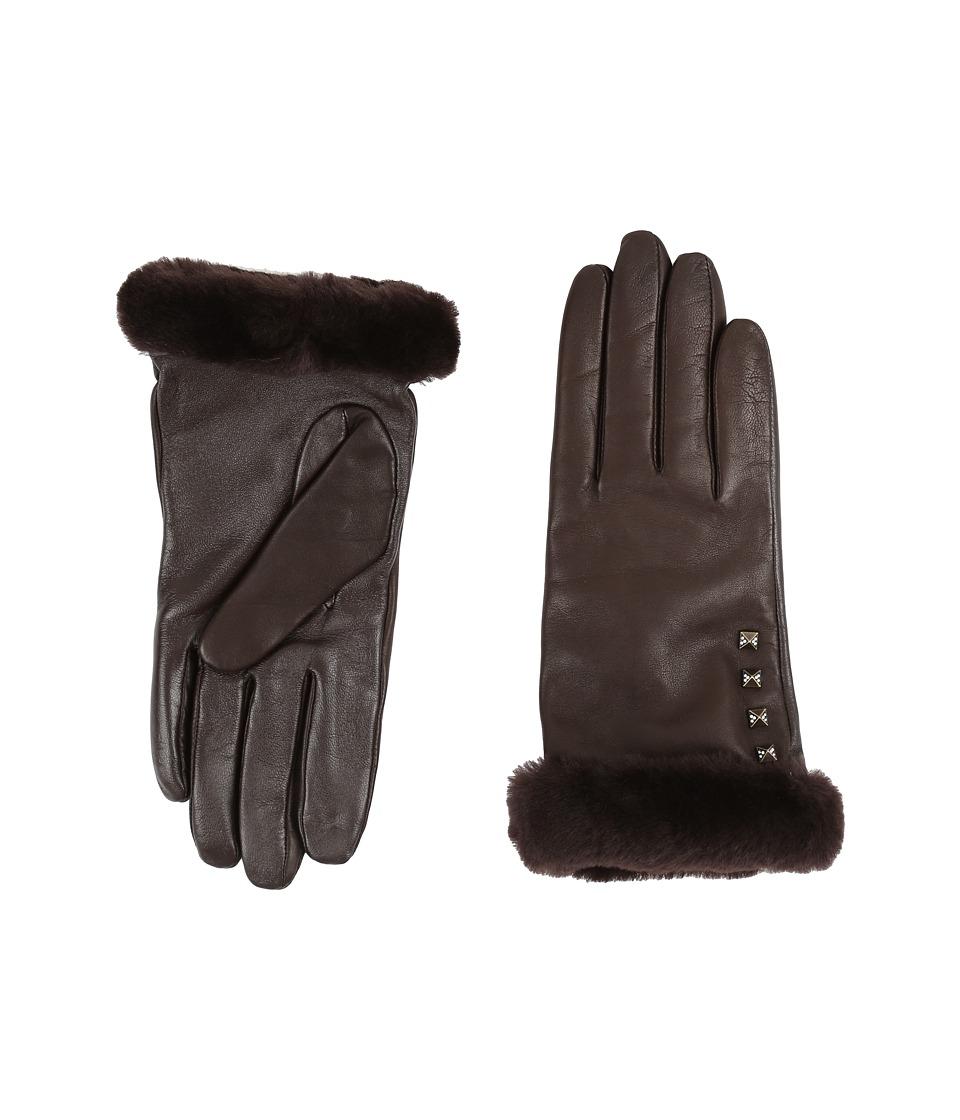 Vintage Style Gloves UGG - Art Deco Stud Smart Gloves w Short Pile Trim Brown Extreme Cold Weather Gloves $90.99 AT vintagedancer.com
