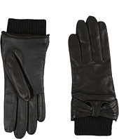 UGG - Smart Leather Gloves w/ Knit/Bow Trim