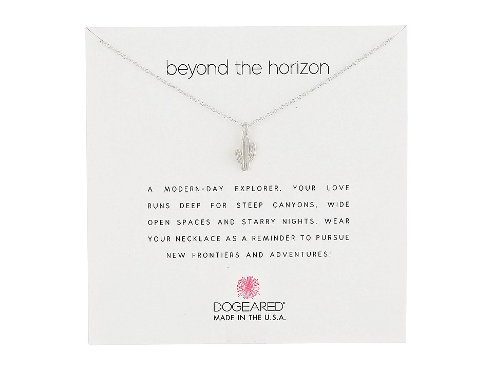 Dogeared Beyond the Horizon Cactus Reminder Necklace Sterling Silver Necklace