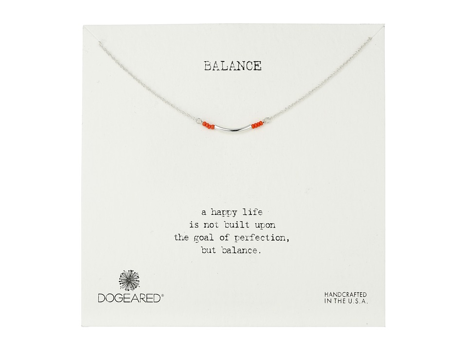 Dogeared Balance Coral Seed Bead Necklace Sterling Silver Necklace