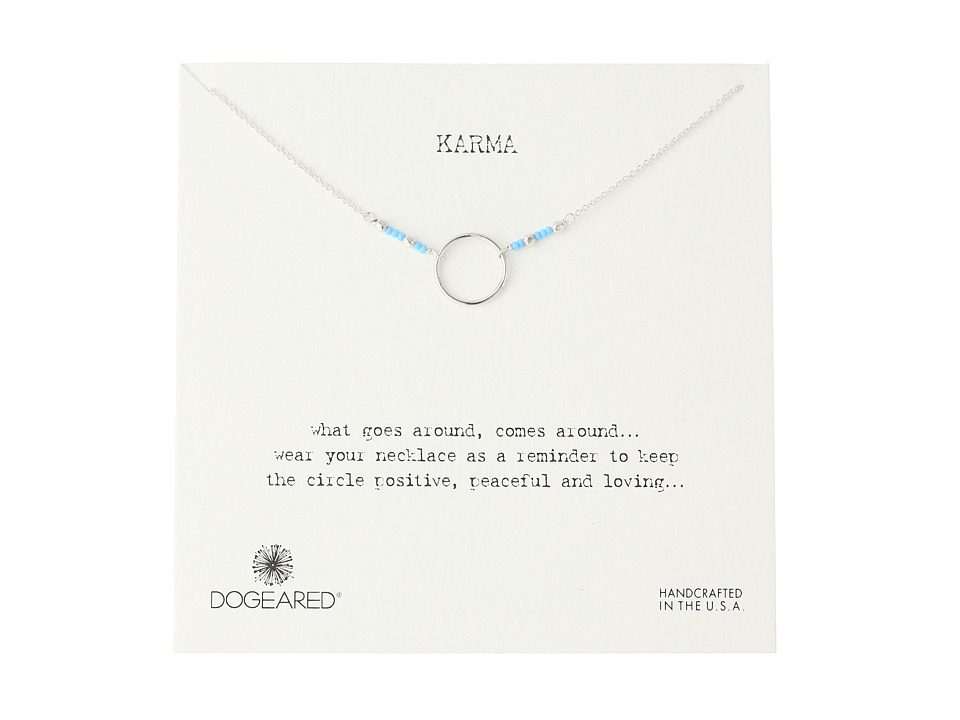 Dogeared Karma Turquoise Seed Bead Necklace Sterling Silver Necklace