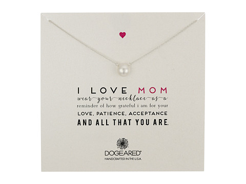 Dogeared I Love Mom Pearl Necklace - Sterling Silver