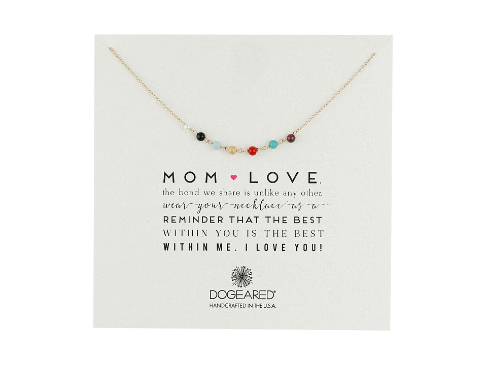 Dogeared Mom Love Multi Gem Necklace Gold Dipped Necklace