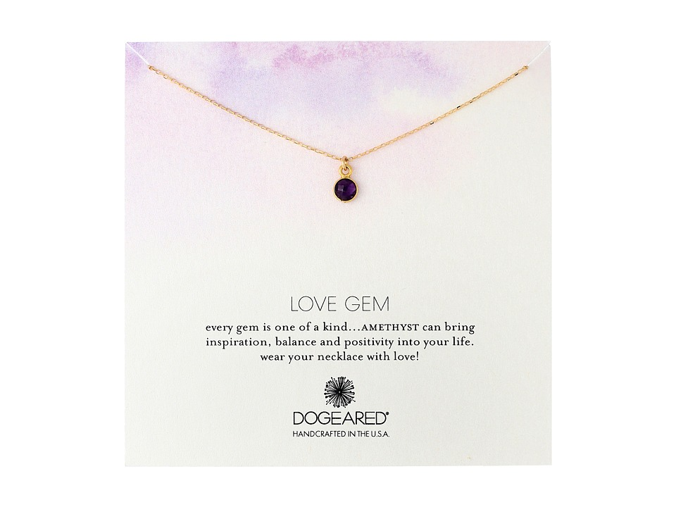Dogeared Love Gem Round Amethyst Bezel Necklace Gold Dipped Necklace
